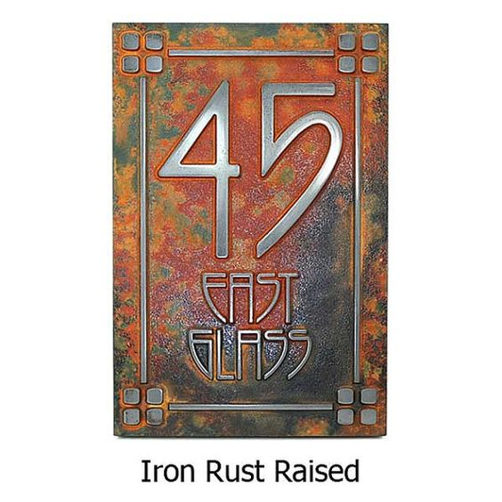 The rust the o 39 jays and address plaque on pinterest for Bungalow house numbers