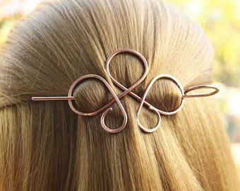 Looping Celtic Crossed Knots Copper Shawl Pin Hair Pin Scarf Etsy Hair Jewelry Celtic Hair Hair Sticks