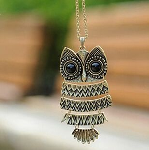 x293 1pcs Free Shipping  Jewelry, Ancient Bronze Owl pendant  Necklace,  gem Ancient the Owl Sweater Chain: