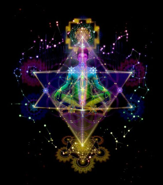 "Divine Spark: See yourself in a Merkabah while meditating. The Hebrew Merkabah (מרכבה ""chariot,"" from the consonantal root with general meaning ""to ride"") is used in Ezekiel (1:4-26) to refer to the throne-chariot of God, the four-wheeled vehicle driven by four ""chayot"" (Hebrew: ""living creatures""), each of which has four wings and the four faces of a man, lion, ox, and eagle. The Merkabah is also the Divine Light vehicle employed by ascended masters to commune with those in the higher realms.:"