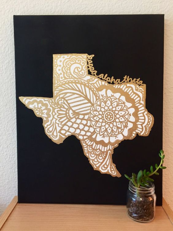 ANY SORORITY Gold Design Custom State Canvas  Texas by CaliCanvas