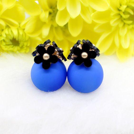 New Fashion crystal flower Earrings ball cute Double side Earring