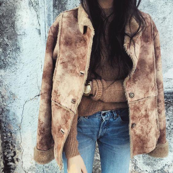 Turn-Down Collar Fleece Suede Coat: