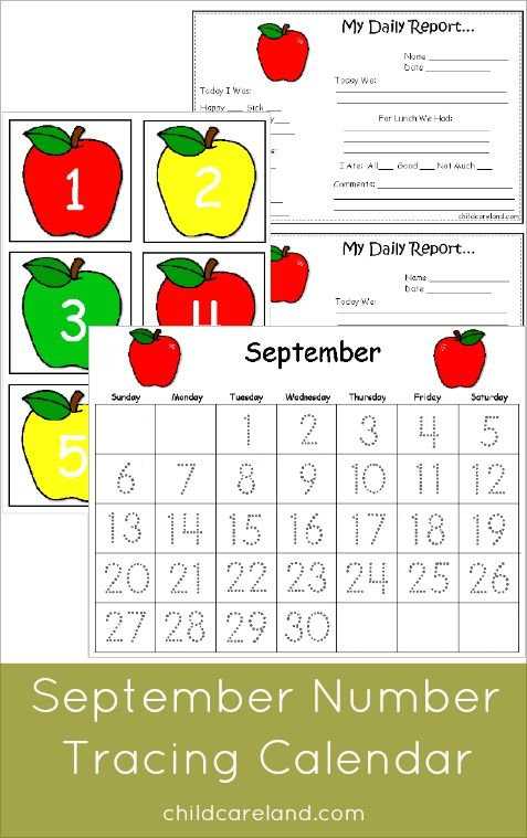 Calendar Trace Kindergarten : September number tracing calendar and other