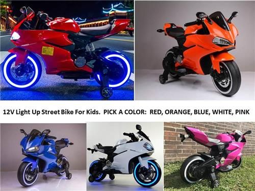 Kids 12v Motorcycle Street Bike Electric Power Ride On 2 Speed W Training Wheels Lincoln S Mini Mall Speedysolutions Electric Bike Street Bikes Bike Design