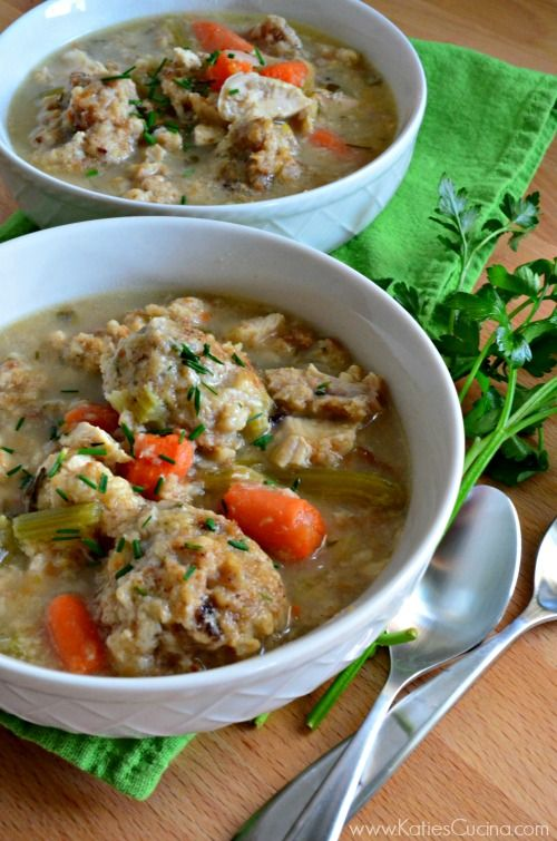 Use up the leftover turkey and stuffing and make this delectable Turkey & Stuffing Dumpling Soup recipe that will warm your soul and fill your belly!