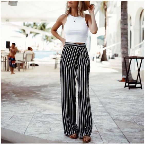 crop top and wide leg pants