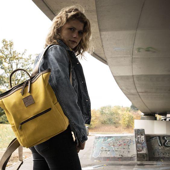 #backpack #leather #yellow #gelb #rucksack #leder #leatherwork #diy #handmade #urban #style #casual #streetwear #streetstyle #women #damen #womens