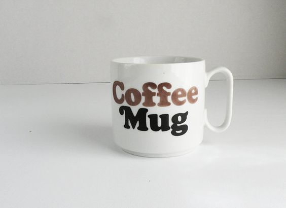 White Porcelain Coffee Mug with Mod Brown 70s by heartkeyologie, $17.00