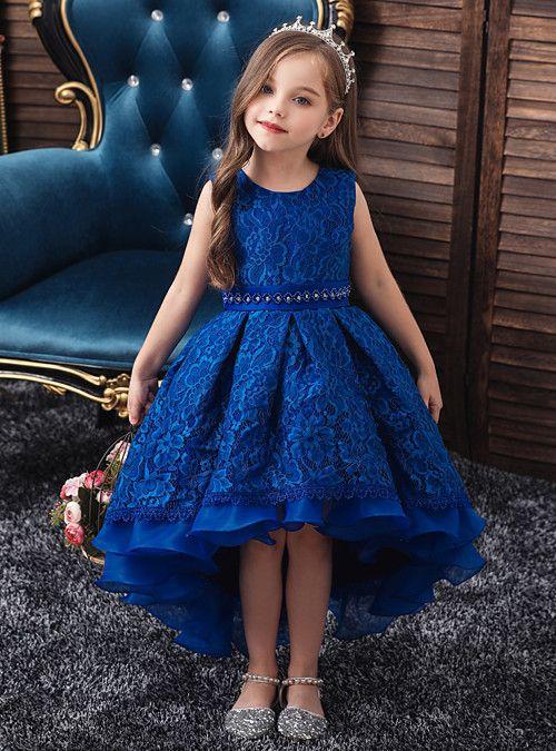 Kids Girls' Active Sweet Solid Colored Beaded Mesh Sleeveless Asymmetrical  Dress White 2021 - US $35.19   Little girl gowns, African dresses for kids,  Cute girl dresses