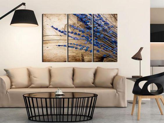 Obraz na ścianę w stylu prowansalskim. Pachnąca lawenda na wieloczęściowej fotografii na płótnie Idealny tryptyk dla uwielbiających naturalne dekoracje!:
