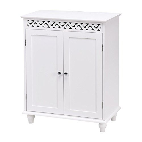 Amazon Com Waterjoy Storage Cabinet Wooden Bathroom Cabinet With 2 Doors An Wooden Bathroom Cabinets Bathroom Floor Storage Cabinet Small Bathroom Vanity Diy