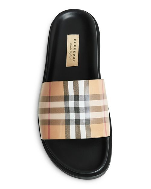 Ashmore Vintage Check Pool Slides Shoes