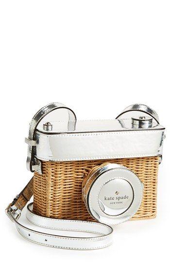 kate spade new york 'grand tour' wicker camera shoulder bag: