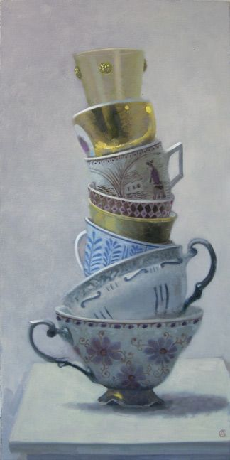 Realism.........Olga Antonova, Tower of Blue and Gold Cups, Oil/Canvas, 30 x 15 inches, at Gallery Henoch