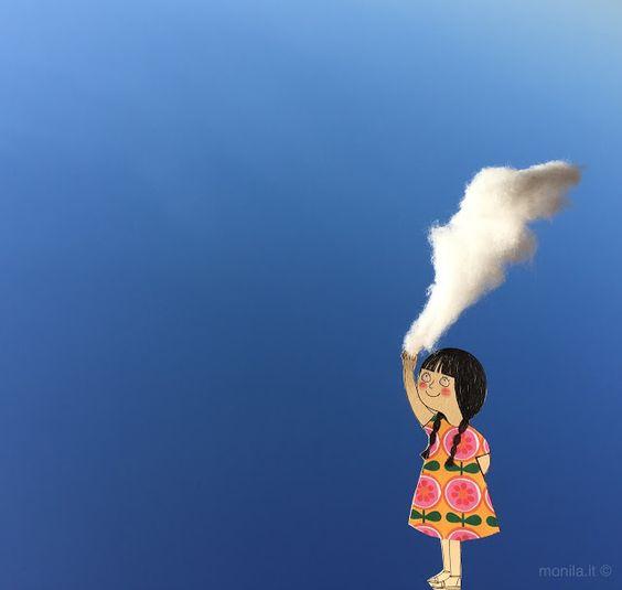 Monila handmade , illustrazione,bambina,toccare una nuvola nuvola,cloud,nuage