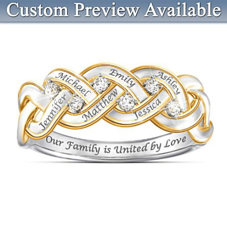 Strength Of Family Diamond Ring With Up To 6 Engraved Names