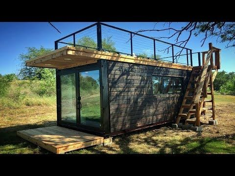 Fascinating Compact Tiny Shipping Container House W Murphy Bed Rooftop Deck Small Home Designs Youtube Container House Weekend House Cargo Home