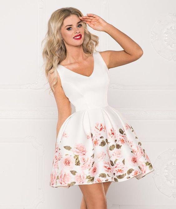 Sukienka Rozkloszowana W Kwiaty Ecru She29 Fashion Graduation Dress Dresses