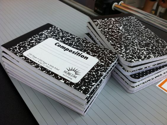 Office Max can cut comp books in half for you...use them for journals :)