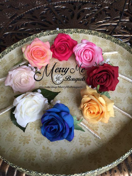 Rose Boutonniere Realistic Rose Boutonniere by MerryMeBouquets #boutonniere #lapelflower #roseboutonniere #groom #groomsmen
