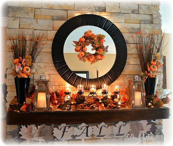 Fall Fireplace Mantel Decorating Ideas: Romantic Autumn Mantel Decor Featuring Candles, Lanterns