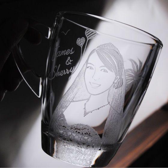 320cc(一對價)【MSA肖像結婚杯】(寫實版)海岸婚禮.夏戀海鷗棕櫚樹婚紗人像馬克杯