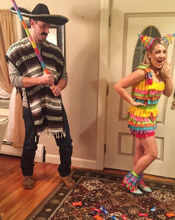 DIY Mexican Piñata couple costume. Cinco de mayo on Halloween