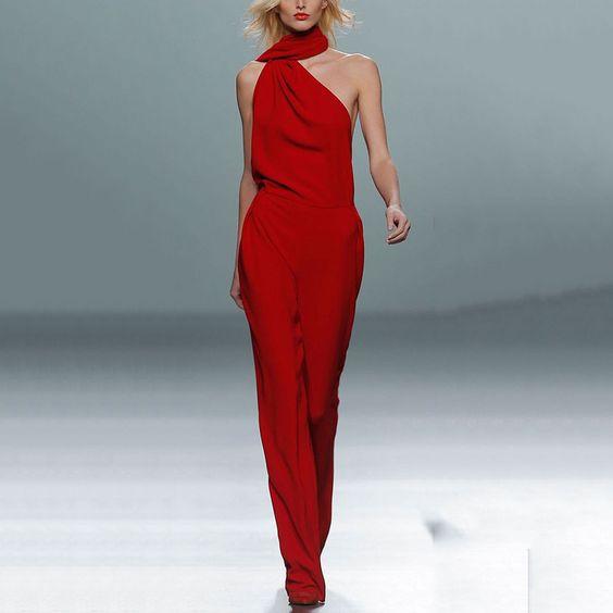 Fashion Off-Shoulder Chiffon Loose Sleeveless High-Waist Jumpsuit – Ratecuteshop