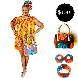 Gift For Her, Brown And Orange African Print Bag and Jewelry Set