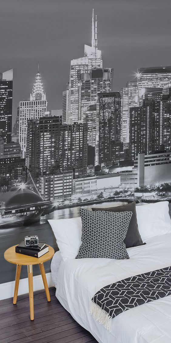 Bring Some New York Glam To Your Home This Beautiful City Wallpaper Design Is Brimming With Detail Modern Wallpaper Bedroom Wallpaper Bedroom New York Bedroom