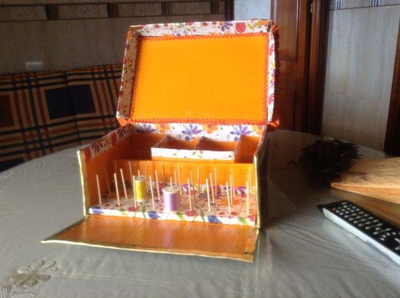 Costurero caja carton http manualidades para la casa - Manualidades para la casa ...