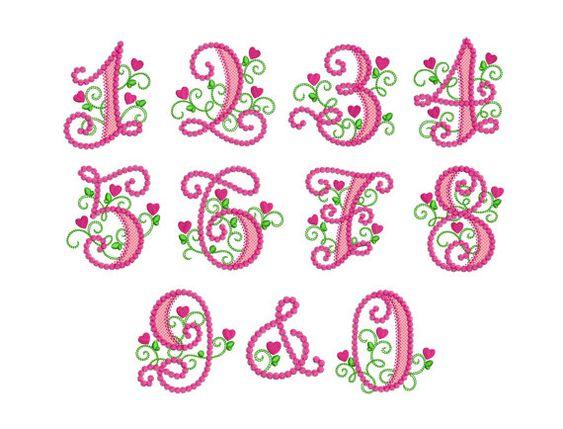 Lindos números Lil Princesa Birthday Set Applique del diseño del bordado HB049