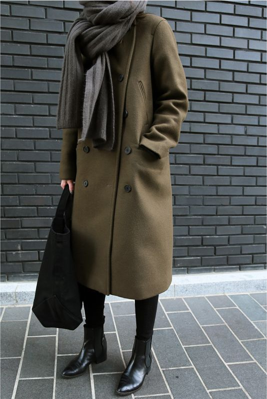 Wool overcoat and black leather ankle boots