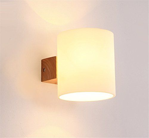 E27 Modern Creative Frosted Glass Lampshade Wood 1 Head W Https Www Amazon Co Uk Dp B074w1yrxq Ref Cm Interior Wall Lights Wall Lamps Bedroom Wall Lights