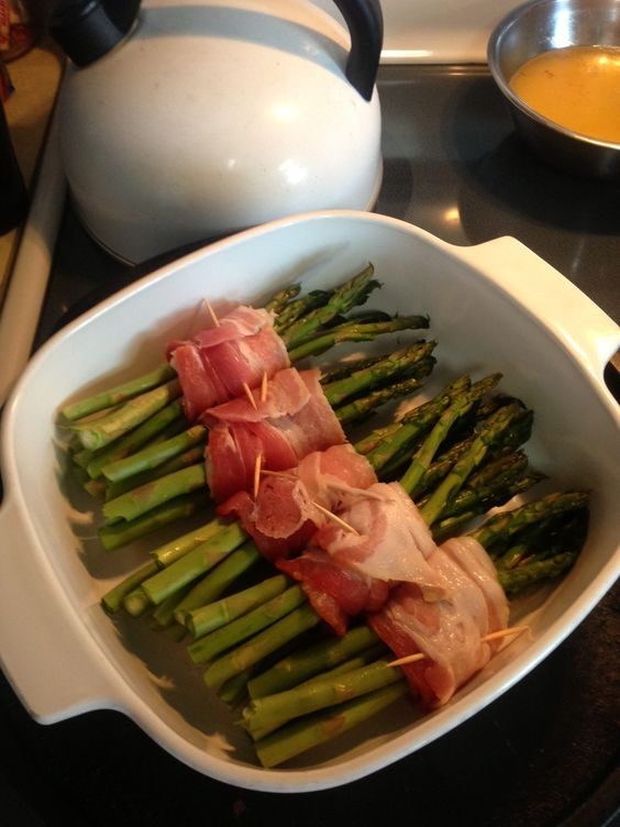 Trisha Yearwood's bacon-wrapped asparagus bundles. Literally the best asparagus I have ever eaten!