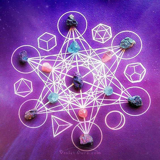 Metatron's Cube, Platonic Solids, Reiki Crystal Healing Grid. / Photo © www.VioletAura.com: