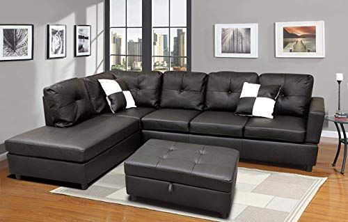Buy Flashbuy Sofa Sectional Sofa L Shape Faux Leather Sectional Sofa Couch Set Chaise Ottoman 2 Toss Pillow Using Living Room Furniture Black Online Ch In 2020 Sectional Sofas Living Room Modern