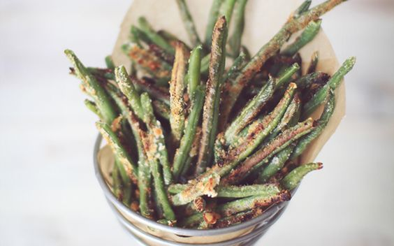I have been making these green bean fries for as long as I can remember. I absolutely LOVE eating my veggies this way. Green beans are one of my favorites because I think they taste just like a french fry! I always sprinkle them with a little extra sea salt when they come out of the oven, and enjoy them warm with low sugar ketchup!