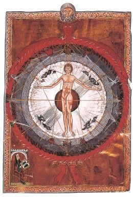 """Dreaming About Red and The Meaning of the Color Red in Dreams """"Universal Man"""", an illumination from a 13th-century copy of Hildegard von Bingen's Liber Divinorum Operum (""""Book of Divine Works"""", c. 1165)."""
