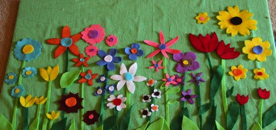 Felt board flowers - mix and match flowers and their middles, stems and leaves.