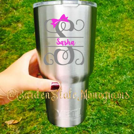 Yeti decal yeti vinyl letter name bow by for Letter decals for cups
