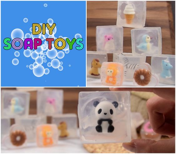 How to make cute soap toys at home with glycerin! A fun idea to make for the kids or as a gift! For full instructions click here http://www.babyfirstblog.com/diy-crystallized-soap-toys/:
