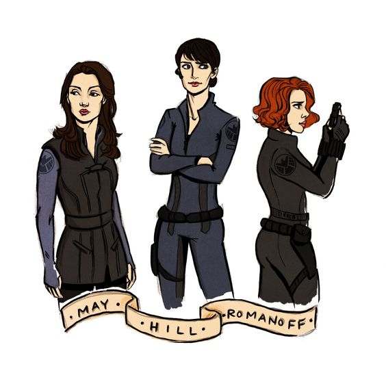 things for thingswithwings : Melinda May, Maria Hill, and Natasha Romanoff in their SHIELD uniforms