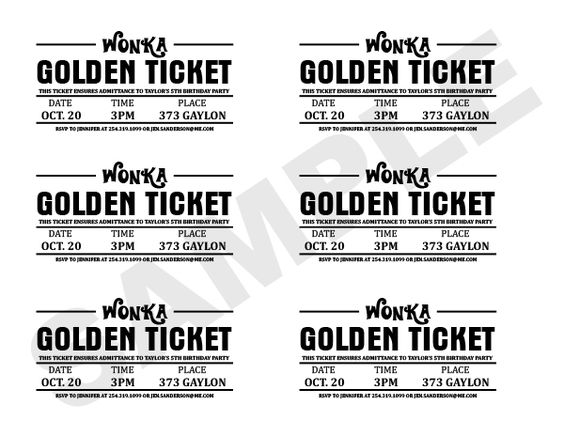 Charlie And The Chocolate Factory Golden Ticket Wrapper Golden Ticket Template Ticket Template Printable Printable Tickets