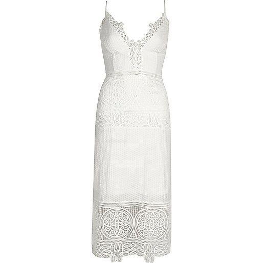Witte kanten midi-jurk - bodyconjurken - jurken - dames