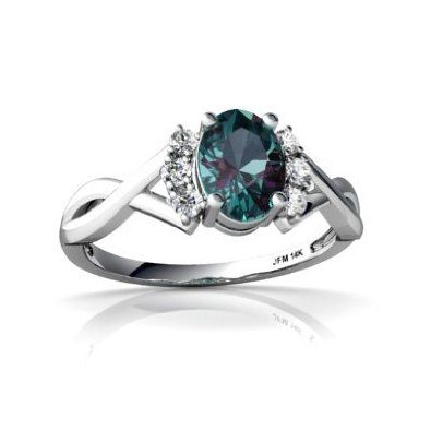 14K White Gold Oval Created Alexandrite Ring: Jewelry