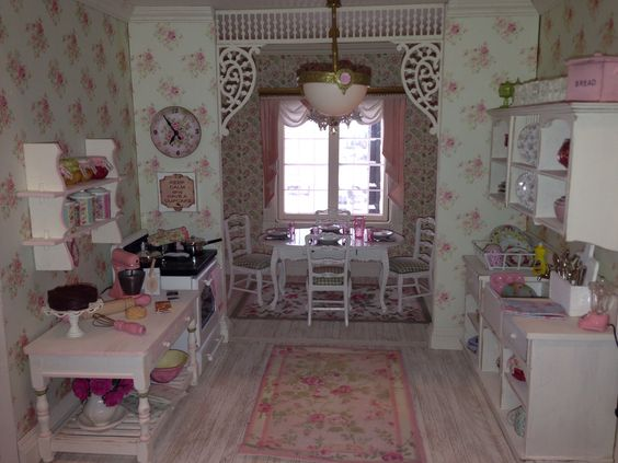 Shabby chic dollhouse kitchen jean check this out pinterest dollhouses shabby and shabby chic - Pinterest shabby chic kitchens ...
