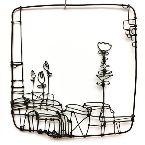 Abstract Land Lines 4 Wire Drawing Wire Art Metal Words