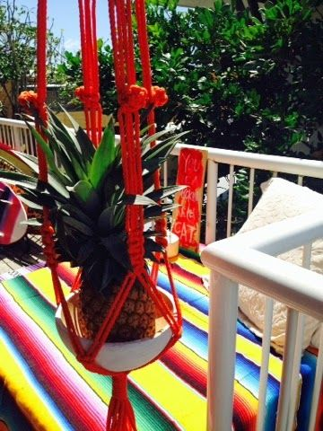 Macrame plant hanger + Mango Fiesta Blanket both from dosombre.com   TANGLED UP IN BLUE | BAD RITUALS